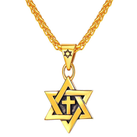 Star of David Pendant Necklace Unisex With Wheat Chain Gold Plated Men Jewish Jewelry