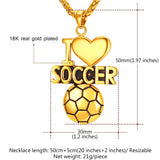 Charm Necklace Soccer Stainless Steel/18K Real Gold Plated Chain Sports Jewelry For Men