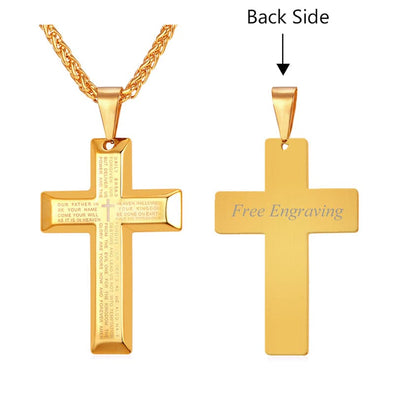 Bible Cross Pendant Necklace Engraved18K Gold Plated Religious Style for Men