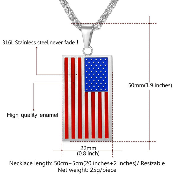 Engraving Square/Heart American Flag Necklace USA Symbol Pendent