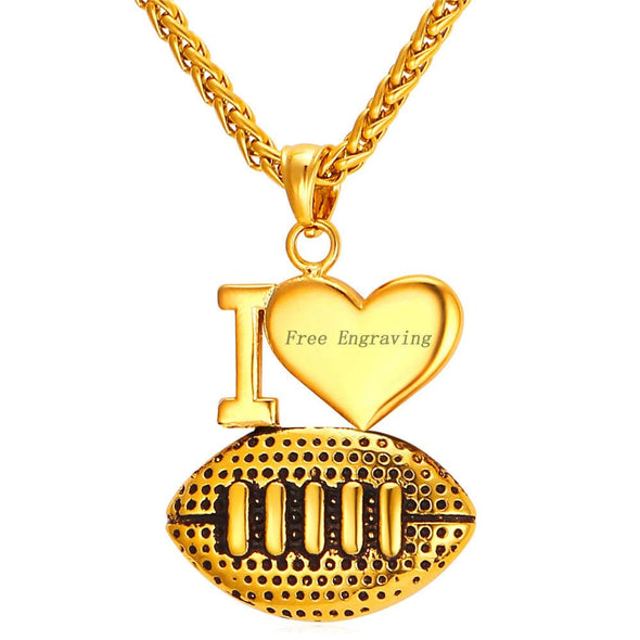 Engravable I Love Football Pendent Necklace Personalized Sports Jewelry 18K Gold Plated
