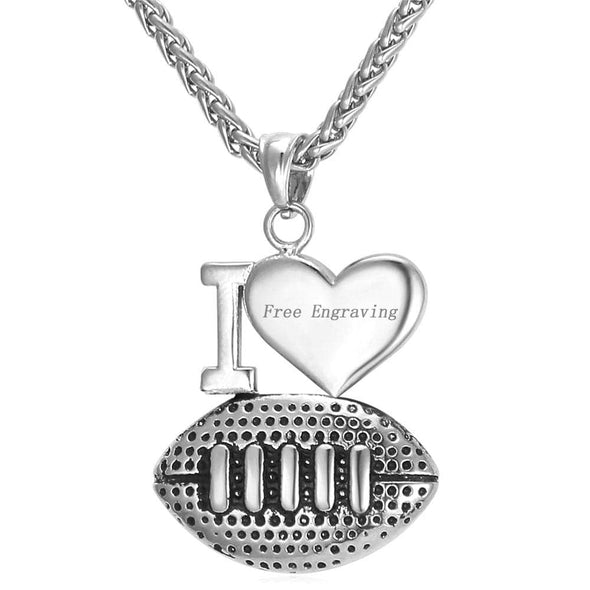Engravable I Love Football Pendent Necklace Personalized Sports Jewelry 18K Gold Plated 316L Stainless Steel