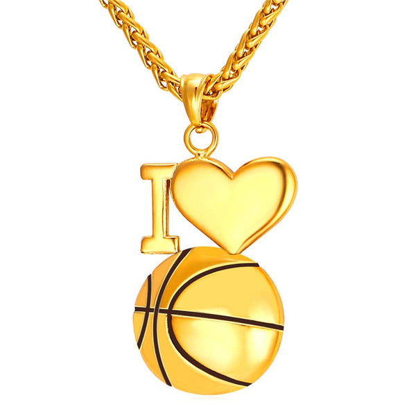 Simple I Love Basketball Charm Necklace Hip Hop Sports Fan Jewelry