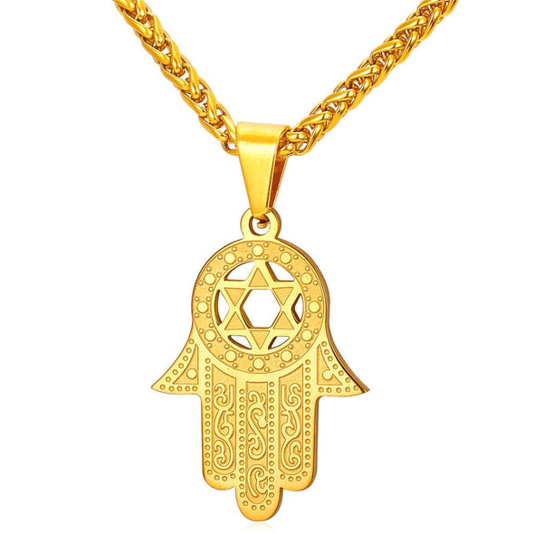 Hamsa Hand With Star Of David Pendant Necklace Jewish Lucky Jewelry