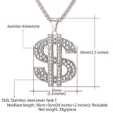 Men's Iced Out US Dollar Sign Necklace Bling Rhinestone Big Pendant Hip Hop Migos Jewelry