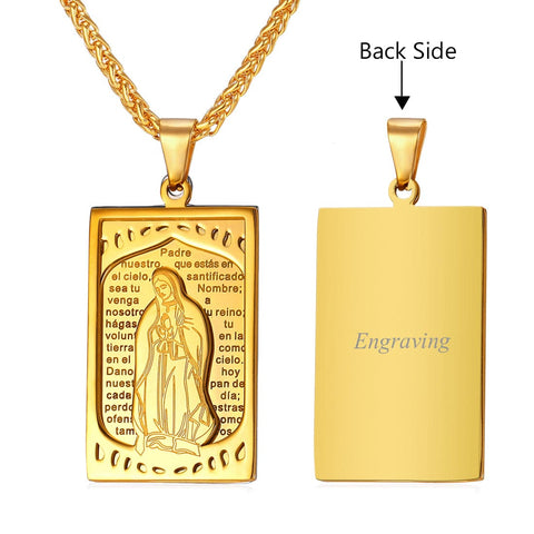 Square Virgin Mary Pendant Necklace Gold Plated Stainless Steel Catholic Religious Cross Jewelry
