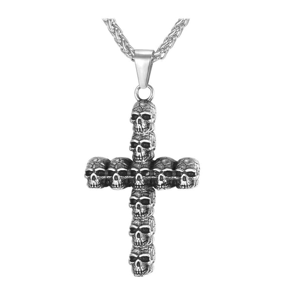 Gothic Punk Skeleton Skull Cross Pendant Necklace 316L Stainless Steel