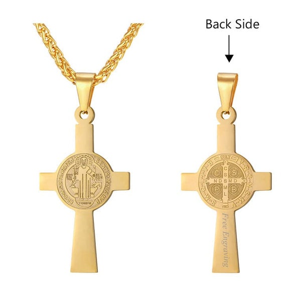 Free Engraving Saint Benedict Cross Pendant Necklace Christian Jewelry