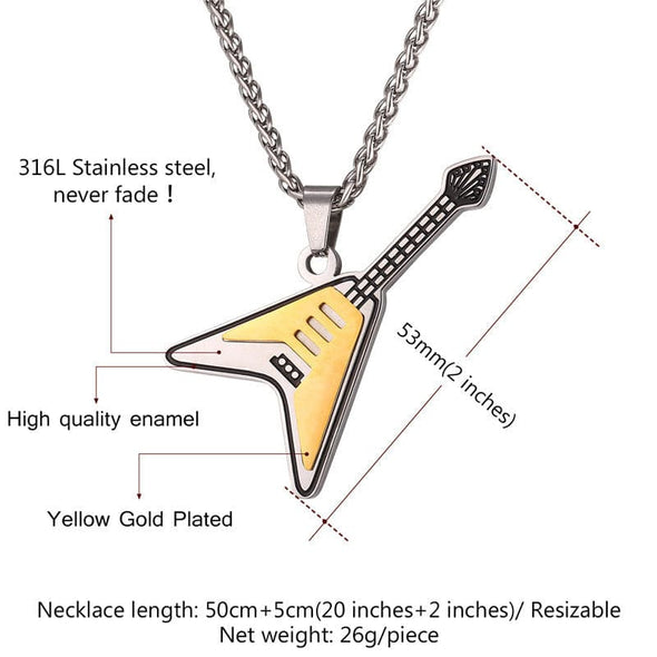 Electric Guitar Pendant Necklaces Two Tone Bass Music Jewelry For Men