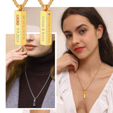 Cuboid Bar Necklace Stainless Steel / 18K Gold Plated Personalized Urn Ashes /Perfume Bottle Pendant Memorial jewelry