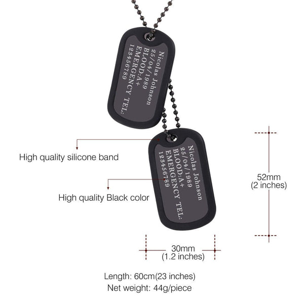 Engraving Custom Photo Army Military Double Dog Tag Necklace with Rubber Silencer