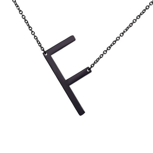 Personalized Large Sideways Letter A-Z Initial Necklace Alphabet Pendent