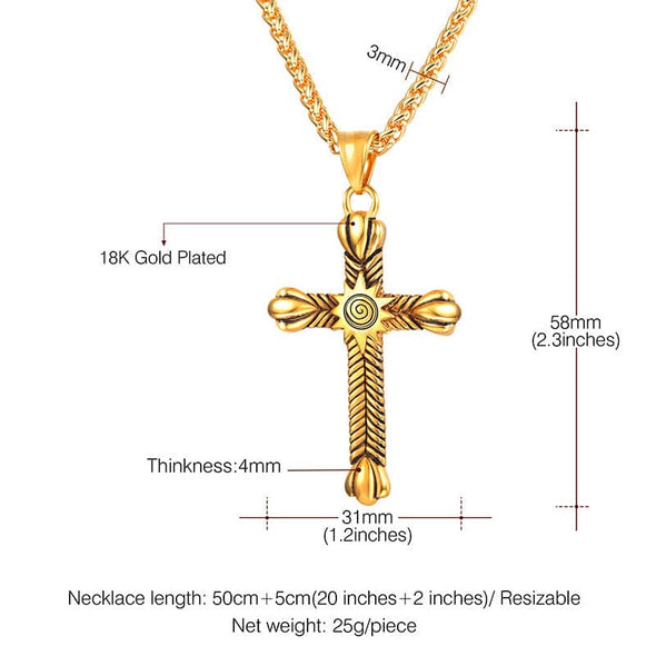 Punk Sun Cross Pendant Necklace Gold Solar Pattern Jewelry For Men