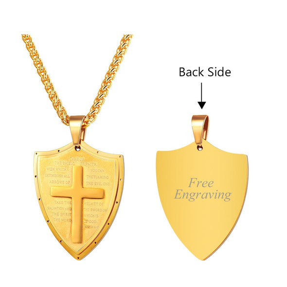 18K Gold Plated Shield Cross Pendant Necklace Christian Religious Jewelry For Men