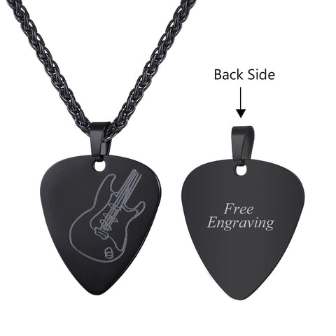 Guitar Pick Pendant Necklace 18K Gold Plated Love Shape Guitar Pattern Jewelry For Men