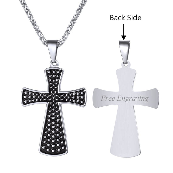 Gothic Celtic Cross Pendant Necklace Dots Patterned Christian Necklace Wheat Chain Religion Jewelry
