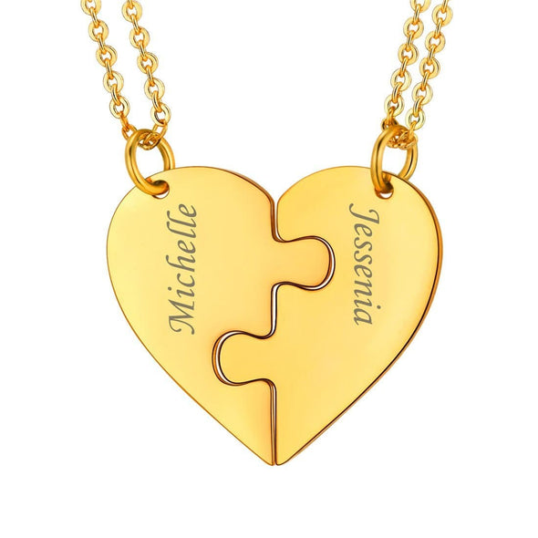 Personalized Heart BFF Puzzle Pendent Necklace with 2-6 Engraved NamesPersonalized Heart BFF Puzzle Pendent Necklace with 2-6 Engraved Names