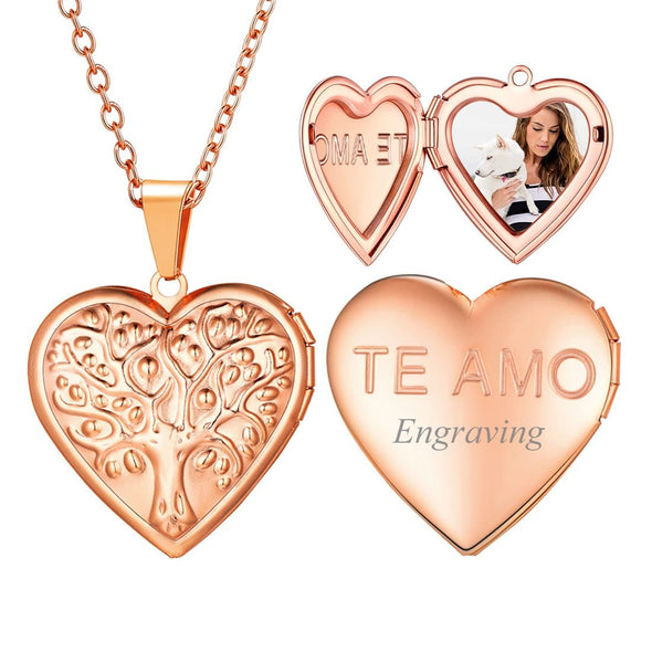 Personalized Engraving Family Tree Of Life Heart Custom Photo Locket Necklace