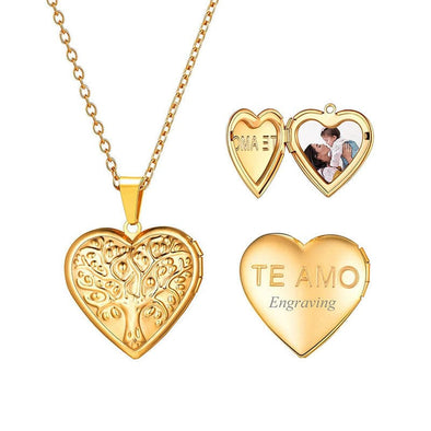 Personalized Engraving Family Tree Of Life Heart Custom Photo Locket Necklace 18K Gold Plated