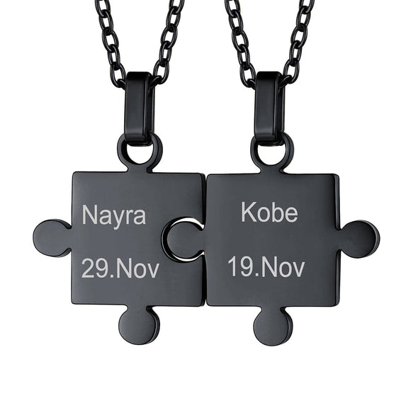 Personalized Free Engraving BFF Puzzle Necklace 2-8 Pieces Pendant