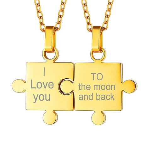 Engraved Puzzle Necklace Two Pieces Custom Name Personalized Matching Couples Puzzle Love Jewelry