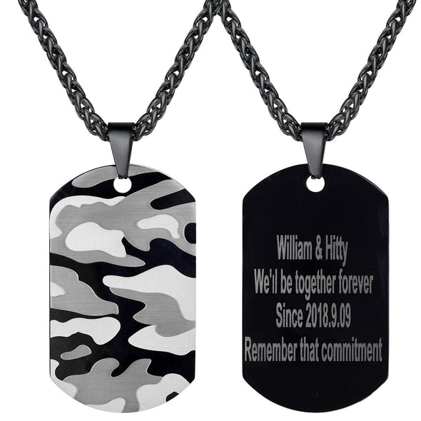 Free Engraving Custom Military Camouflage Camo Dog Tag Necklace