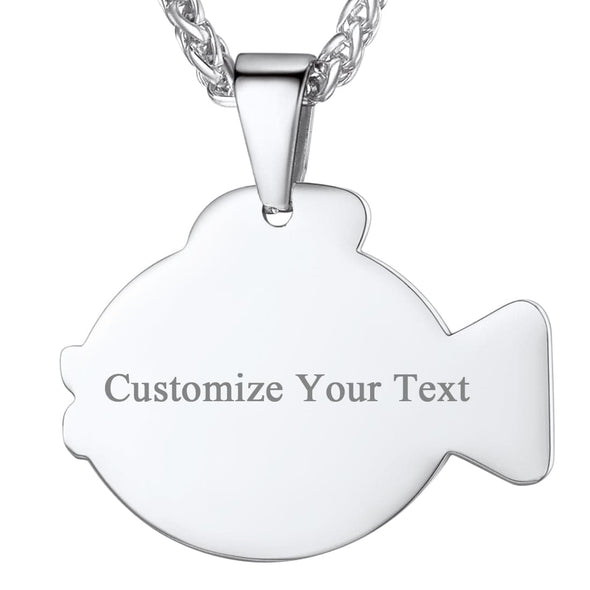 Engraved Rabbit/Fish/Cat/Dog Outline Pendant Necklace Custom Name Charm