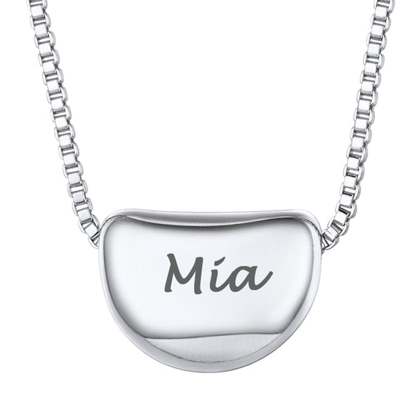 Personalized Engravable Simple Dot/Haft Moom Tiny Necklace For Women