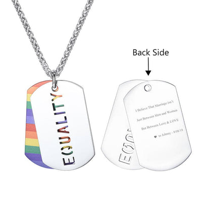 LGBT Dog Tag Necklace Gay And Lesbian Equality Pride Rainbow Jewelry