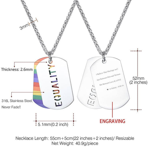 Personalized custom 316L stainless steel 2pcs LGBT dag tag rope chain necklace, gay and lesbian EQUALITY pride rainbow pendant necklace, engravable back side