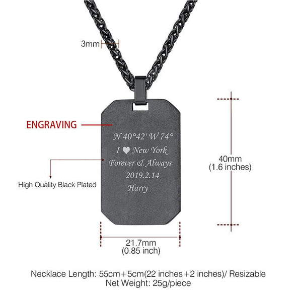 Personalized Military Dog Tag Necklace Engraving Pendant for Men