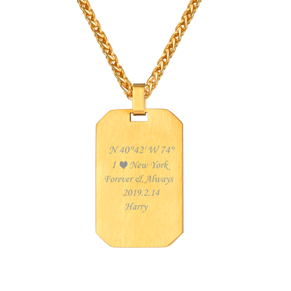 Personalized Military Dog Tag Necklace Engraving Pendent for Men
