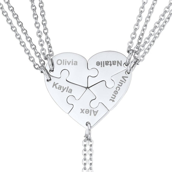Personalized Heart BFF Puzzle Piece Necklace For 2-6 Engravable Pieces