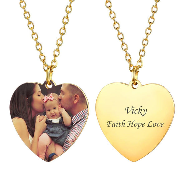 Personalized Heart Engravable Custom Photo Necklace For Women