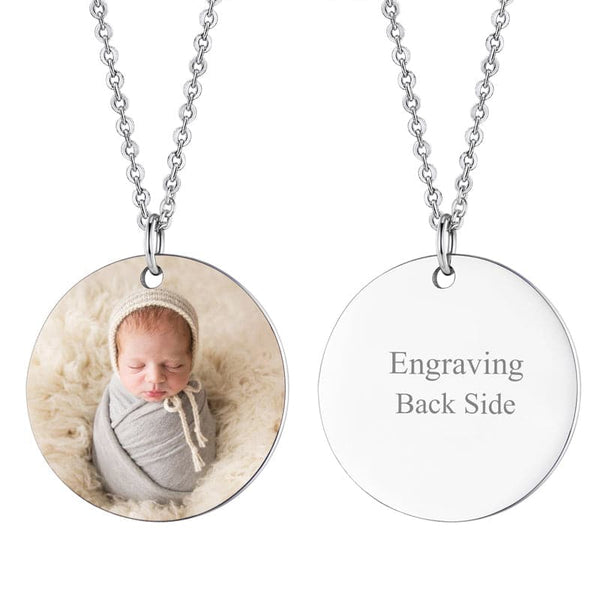 Custom Photo Engraving Round Plate Pendant Chain Necklace For Women