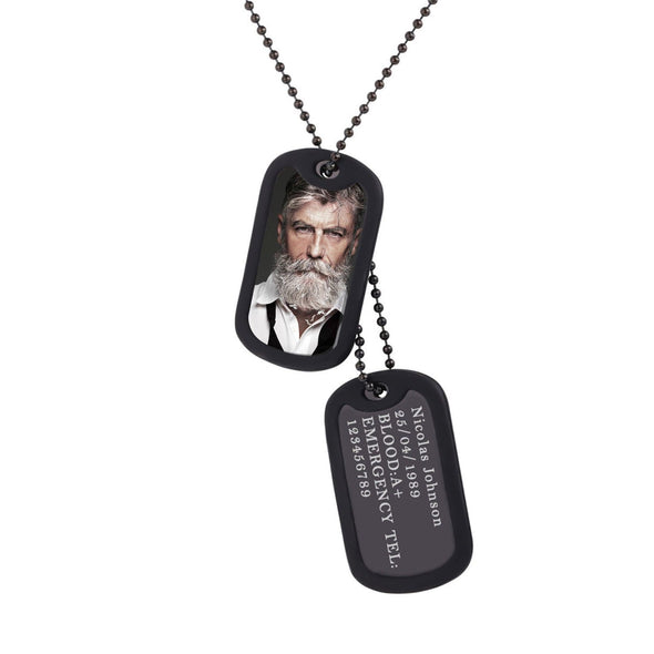 Engraved Custom Photo Dog Tag Necklace With Rubber Silencer