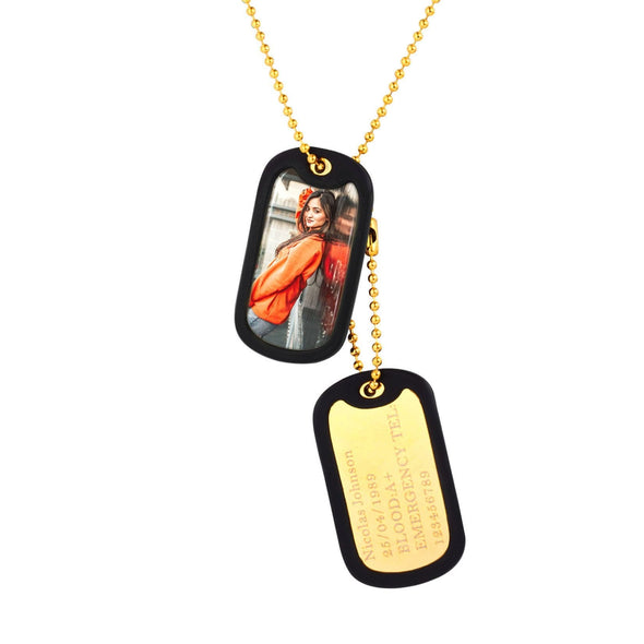 Engraving Custom Photo Army Military Dog Tag Necklace with Rubber Silencer