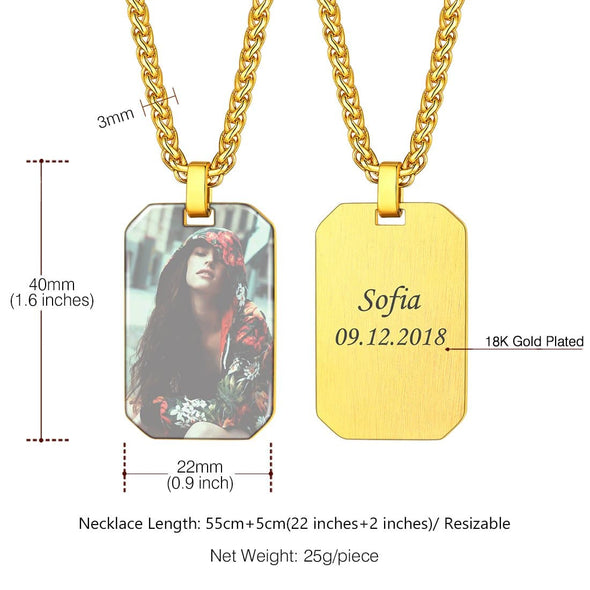 Engravable Dog Tag Necklace With Custom Photo 18K Gold Plated