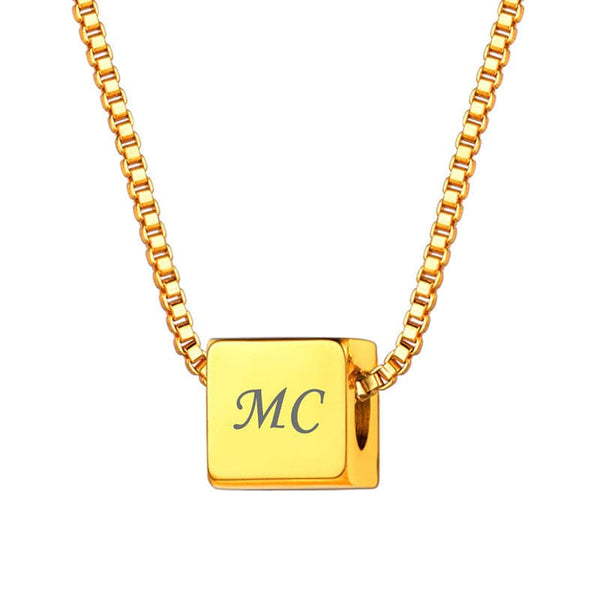 18k Gold Plated Personalized Custom 4 Sides Engraving Cube Pendant Necklace For Men And Women