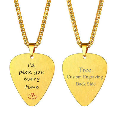 Personalized Engraved Guitar Pick Pendant Custom Music Necklace 18K Gold Plated