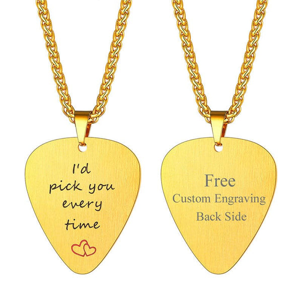 Custom Personalized Engraving I'd Pick You Everytime Stainless Steel Guitar Picks Pendant Necklace For Men And Women