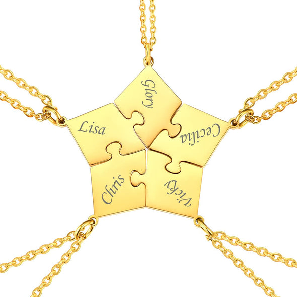 Personalized BFF Puzzle Necklace with Custom Engravable Names