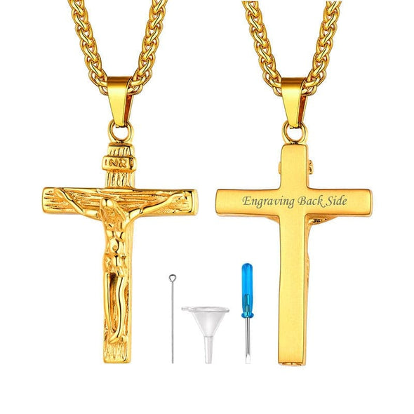 Personal Engraving Vintage Christian Style Crucifix Cross Ashes Cremation Urn Necklace