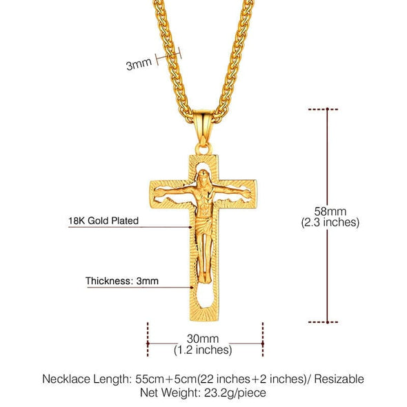 Hollow Out Design Jesus Christian Crucifix Cross Pendant Necklace For Men And Women