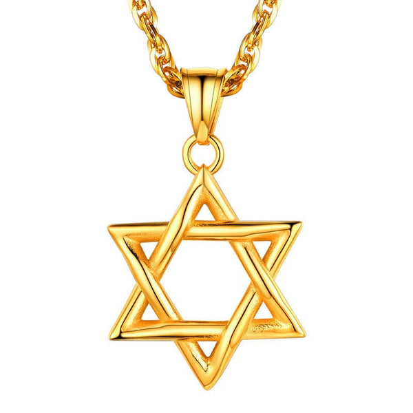Handmade Vintage 18k Gold Plated Jewish Jewelry Hollow Out Star Of David Pendant Necklace for Men and women