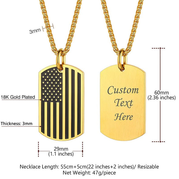 Two Tone Black Gold Enameled Drip United States US American Flag Necklace for Men and Women
