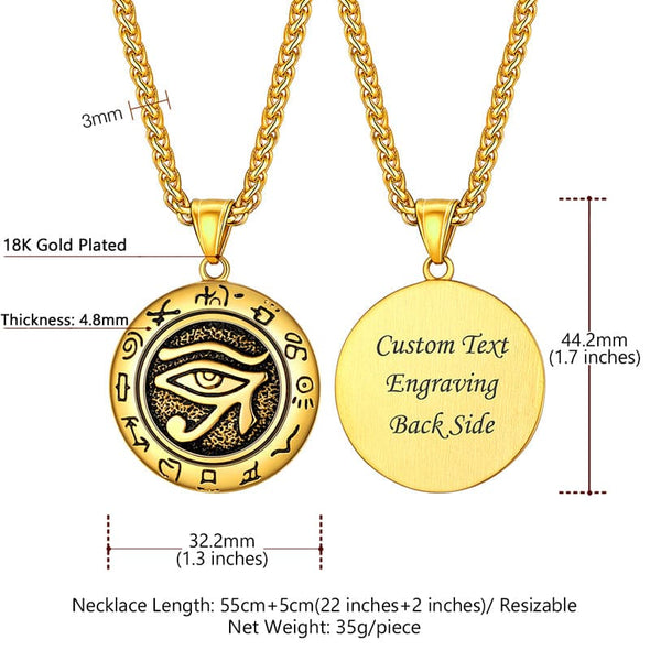 Egyptian Style Eye Of Horus Round Metal Pendant Necklace For Men and Women