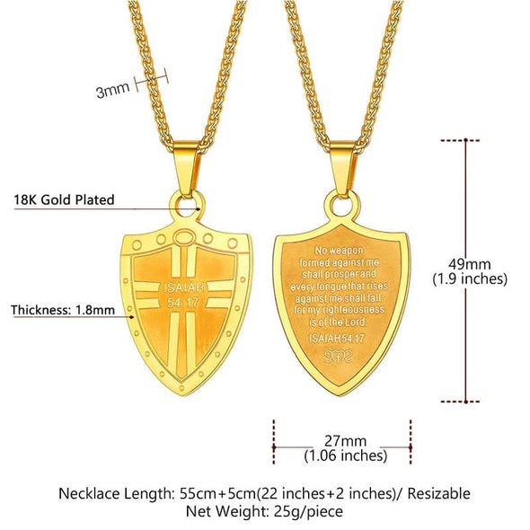 Armor God Shield Cross Christ Pendant Necklace-Size