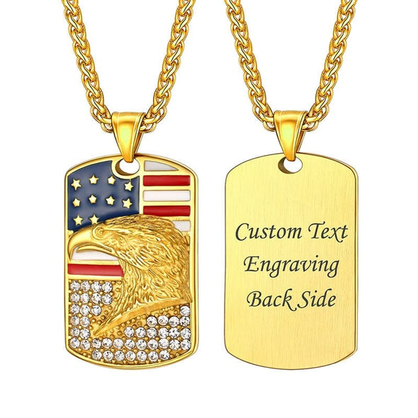 USA United States Flag Bald Eagle Dog Tag Pendant Necklace for Men and Women