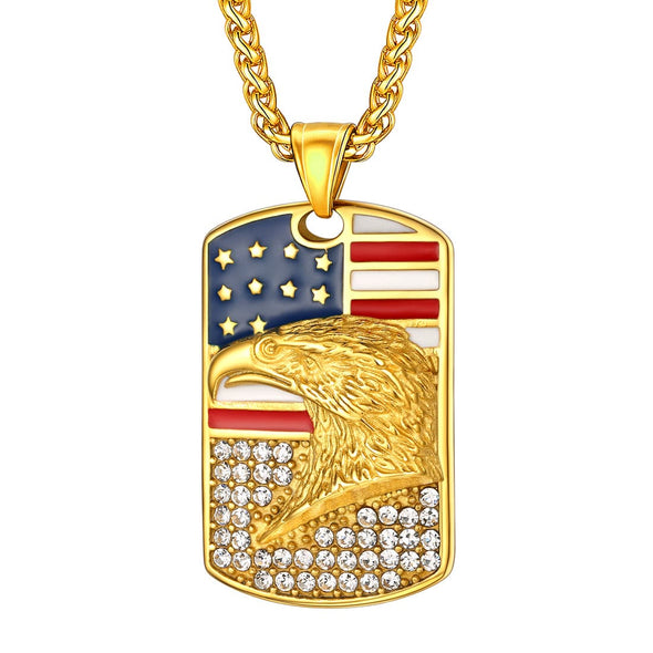 Engravable Patriotic USA Flag Dog Tag Bald Eagle Pendant Necklace